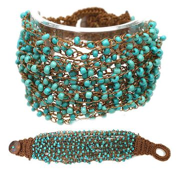 Simply a Must, Multi Layered Turquoise Seed Bead Bracelet