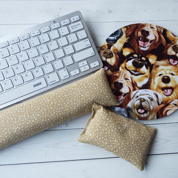 dogs Keyboard rest and / or WRIST REST  MousePad set  - coworker gift - office Desk Accessories dog selfies