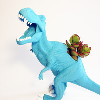 Up-cycled Large Sized Blue T-rex Dinosaur Planter