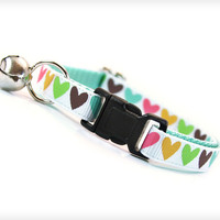 """Cat Collar - """"Candy Hearts"""" - Multi-colored Hearts on White w/ Mint"""