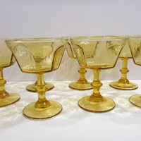 Vintage Amber footed sherbet cups. dessert cups.  ice cream cups. set of 7
