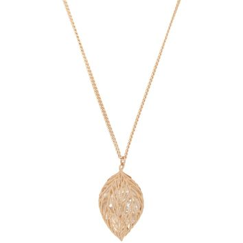 Faux Diamond Leaf Necklace