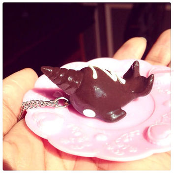 Chocolate narwhal necklace by SprinkleChick on Etsy