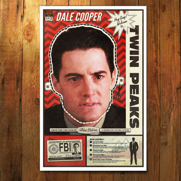 "Twin Peaks Poster Dale Cooper Mask Cut-out & Fan Art Poster Print (11""x17"")"