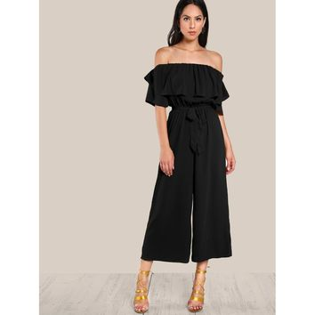 Flounce Off Shoulder Self Tie Culotte Jumpsuit Online Exclusive