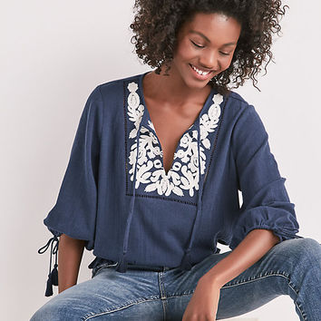 Embroidered Tassel Top | Lucky Brand