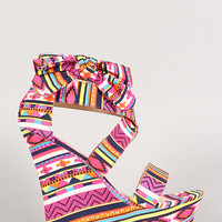 Bamboo Tribal Bow Open Toe Platform Wedge
