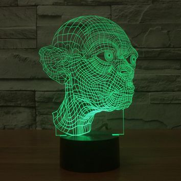 LED colorful 3D light touch Gollum acrylic Vision Stereo lamp switch lamp lights illusion gradient
