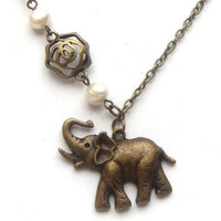 Antiqued Brass Elephant Flower Fresh Water Pearl by gemandmetal