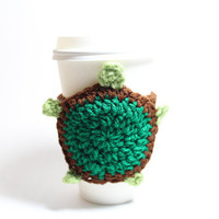 Turtle coffee cozy, animal cup sleeve, Turtle crocheted cozy- Christmas In July Sale