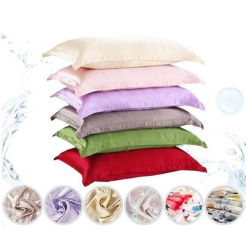 Hot Selling 1pc Pure Emulation Silk Satin Pillowcase Single Pillow Cover 14 Colors V5407