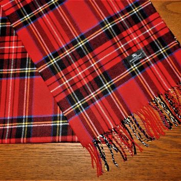 One-nice™ BURBERRY London Red Plaid 100% Cashmere SCARF Unisex Men Women NWOT