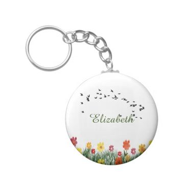 Personalized Summer meadow with flying swallows Basic Round Button Keychain