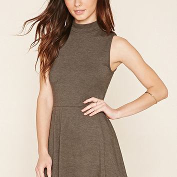Mock Neck Flared Dress