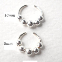 925 Sterling Silver Ear Cuff or Fake Nose Ring G20 - 8mm/10mm Fake piercing ring,cartilage,helix,tragus,ear hoop