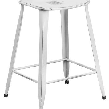 Flash Furniture 24'' High Distressed White Metal Indoor and Outdoor Counter Height Stool