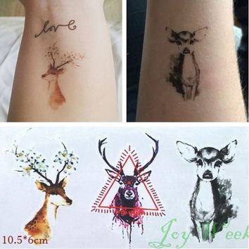 Waterproof Temporary Tattoo Sticker on body bucks Christmas deer tattoo Water Transfer fake tattoo flash tattoo for women girl