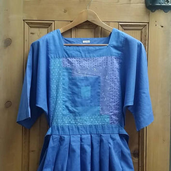 Dress hippie patchwork smock drsses blue womens clothing autumn midi peasant loose fitting smock dress ethnic retro folk Dolly Topsy Etsy UK