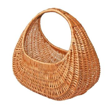 Wicker Market Basket, Wicker Bag, Woven Portable Basket, Shopping Bag, French Basket, Throw Basket, FREE SHIPPING