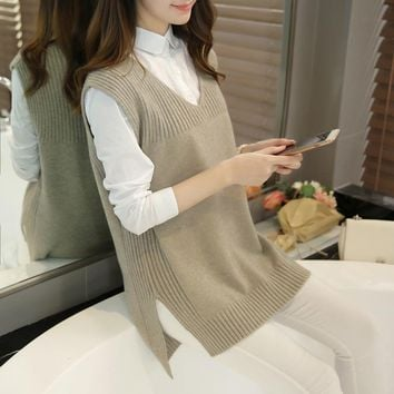 2017 New Autumn Cashmere Sleeveless Women Sweater Vest Female Casual V-Neck Knitted Waistcoat Ladies Pullover Vest Loose Jumper