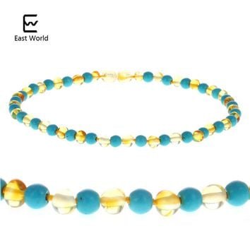 EAST WORLD Natural Amber Necklace 12''--24'' Polished Ambar Beads Real Turquoise Baltic Amber Jewelry Supplier Necklace for Etsy