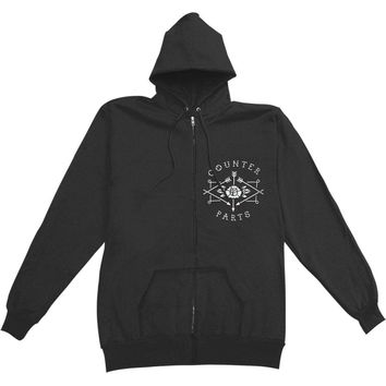 Counterparts Men's  Coffin (Black) Zippered Hooded Sweatshirt Black