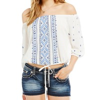 Miss Me Embroidered Peasant Top | Dillards