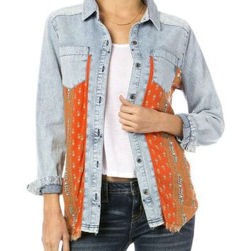 Miss Me Orange Print Chambray Shirt