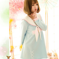 S/M/L Light Blue/Purple Kawaii Bunny Ears Sailor Collar Printing Dress SP166020
