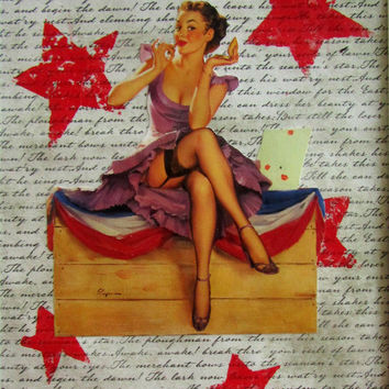 "Voting Girl II Pin-Up - wall art mixed media collage 8""X10"" within 11""X14"" matboard"
