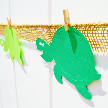 Under the sea, turtle decor, beach party, birthday decor, summer party, burlap banner, sea turtle