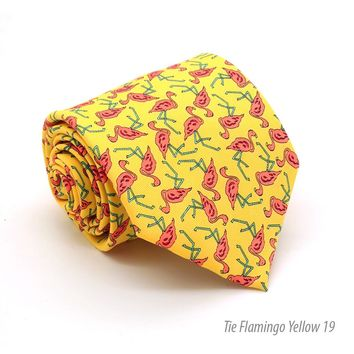 Flamingo Yellow Necktie with Handkerchief Set