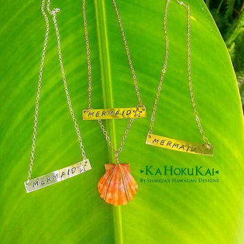 Mermaid Stamped Bar Sunrise Shell Necklace