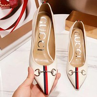 GUCCI New Fashion High Quality Leather Women Stripe High Heels Shoes White
