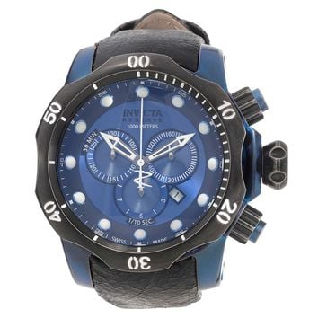 Invicta 15988 Men's Venom Swiss Chronograph Blue Dial Black Leather Strap Dive Watch