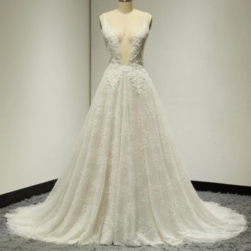 Sexy Wedding Dresses Deep Neckline Low Back Pearl Crystal Beaded Lace Bridal Gown