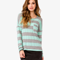 Dropped Shoulder Striped Top