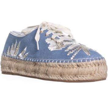 Nine West Guinup Espadrilles Sneakers, Light Blue/White, 5 US