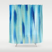 Beach Blues Absract Shower Curtain by Allyson Johnson | Society6