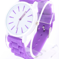 Purple Detailed Round Face Rubber Watch