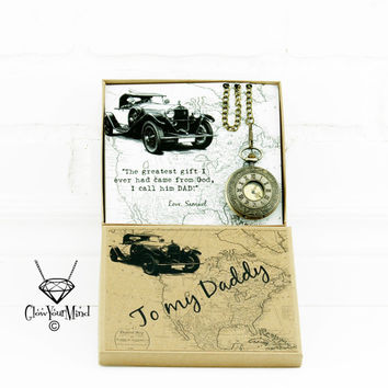 Father's day gift from son Father's day gift from daughter Custom pocket watch Gift in box Personalized gift for Dad gift from kids Dad gift