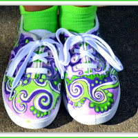 Girls Custom Sneakers, Hand Painted Sneakers, Purple and Green Sneakers, Girls Shoes, Zentangled Sneakers, Artsy Sneakers, Upcycled Sneakers