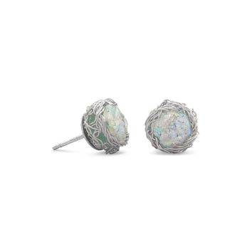 Round Ancient Roman Sterling Silver Glass Stud Earrings with Woven Wire Mesh