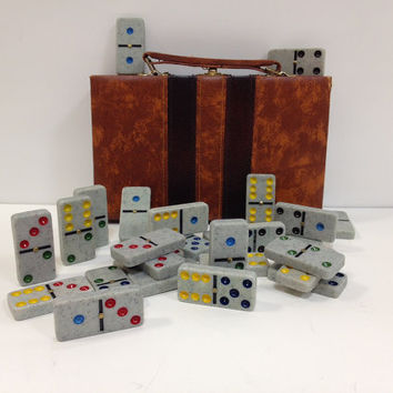 Gray Dominoes with Case Colored Dots and by vintage19something