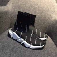 Balenciaga Speed Trainers Stretch Knit Mid Sneakers Black White Style #4 - Best Online Sale