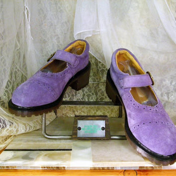 Vintage Purple Suede Rare Original Dr Martens High Heel  Mary Janes ... UK  7 or  USA  Womens 9 to 9 1/2 ... Eu 40  ,,, Made In England