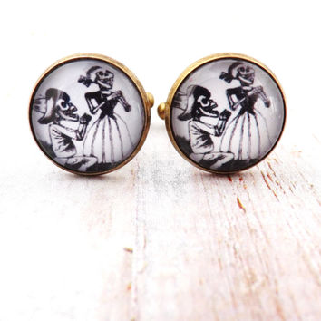 Day of the Dead Engagement Wedding Couple Cufflinks