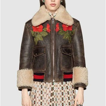 Fashion Casual Embroider Roses Wool Leather Long Sleeve Zipper Coat