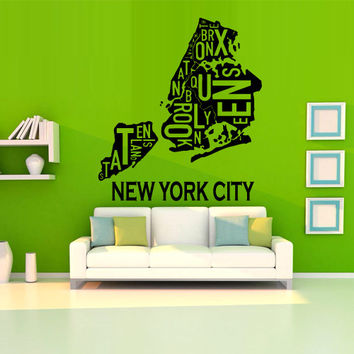 Wall decal decor decals art sticker NY city map New York America Mural  inscription letter word bedroom (m1238)