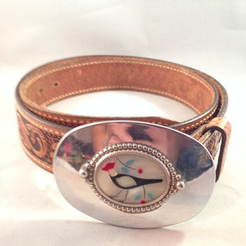 Bett Buckle & Hand Tooled Leather Belt Tex Tan, Mother of Pearl, Engraved Bird, Genuine Cowhide, Made in USA
